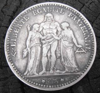 1873 - A France 5 Francs Silver Hercules Coin - photo
