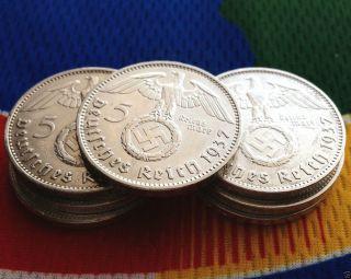 1937 A Ww2 German 5 Mark Silver Coin (1) Third Reich Swastika Reichsmark photo