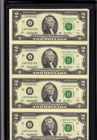 World Reserve Certified Monetary Exchange Uncut Sheet Of Legal Tender $2 Bills photo