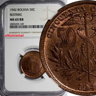 Bolivia Bronze 1942 50 Centavos,  1/2 Boliviano Ngc Ms65 Rb Km 182a.  1 photo