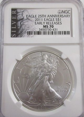 2011 Silver American Eagle Ngc Ms - 70 Early Release photo