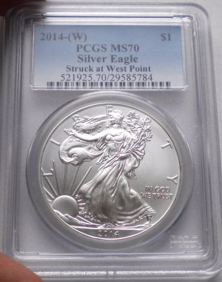 2014 - W Silver Eagle Graded Ms70 By Pcgs Struck At West Point photo
