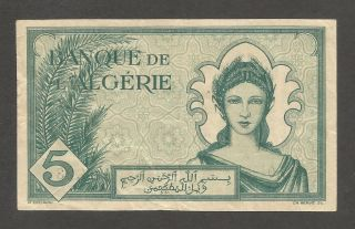 Algeria 5 Francs 1942; Vf; P - 91; S/b - 1111; Young Woman; Wwii Issue photo