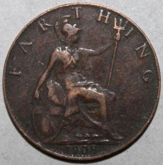 British Farthing Coin,  1908 - Km 792 - Britain Edward Vii United Kingdom Bronze photo