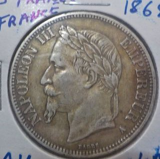 5 Francs Silver France 1868a,  Napoleon Iii,  Details,  Toning photo