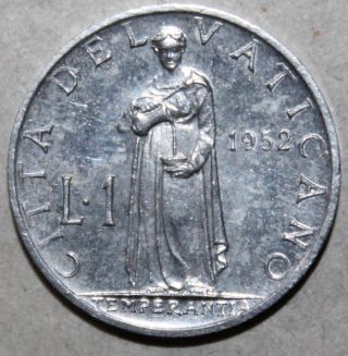 Vatican City 1 Lira Coin,  1952 - Km 49 - Pope Pius Xii - One Aluminium Anno·xiv photo