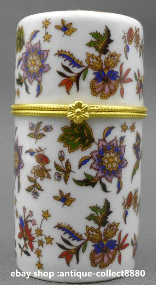 80mm Chinese Colour Porcelain Red Yellow Blue Flower Leaf Fashion Toothpick Box photo