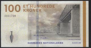 Denmark 100 Kroner 2009 P - 66a Unc Serial Prefix A0 Uncirculated Banknote photo