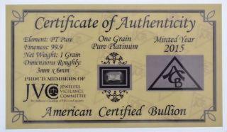 Acb Platinum Solid Bullion Minted 1grain Pt Bar 99.  9 Pure W/ Certificate photo