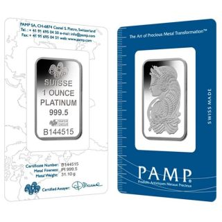 1 Oz Pamp Suisse Lady Fortuna Platinum Bar.  9995 Fine (in Assay) photo