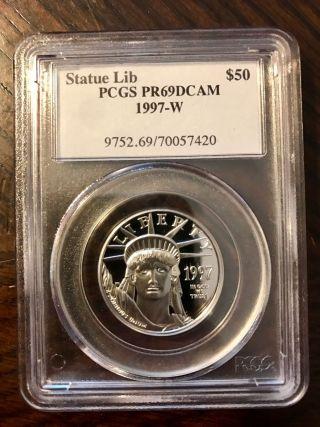1997 1/2oz $50 Platinum American Eagle Pr69 Pcgs Blue Label photo