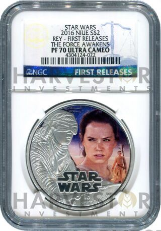 2016 Silver Star Wars The Force Awakens Rey - Ngc Pf70 First Releases photo