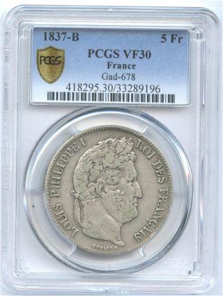1837 - B France Silver 5 Franc Pcgs Vf 30 Gad - 678 Problem photo