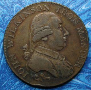 1795 Great Britain Warwickshire Wilkinson Half Penny Conder Token D&h 421 photo