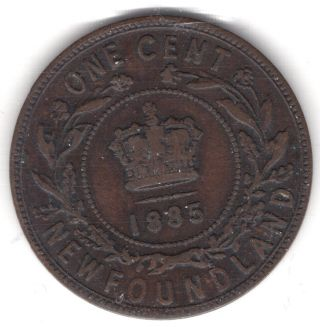 1885 Newfoundland Canada One 1 Cent Copper Penny Issc Graded Coin A291 photo