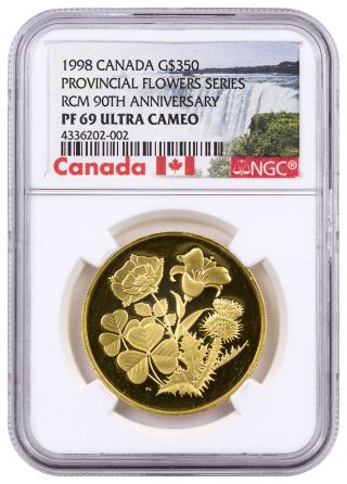 1998 Canada $350 Proof Gold Flowers Rcm 90th Ngc Pf69 Uc (canada Label) Sku41252 photo
