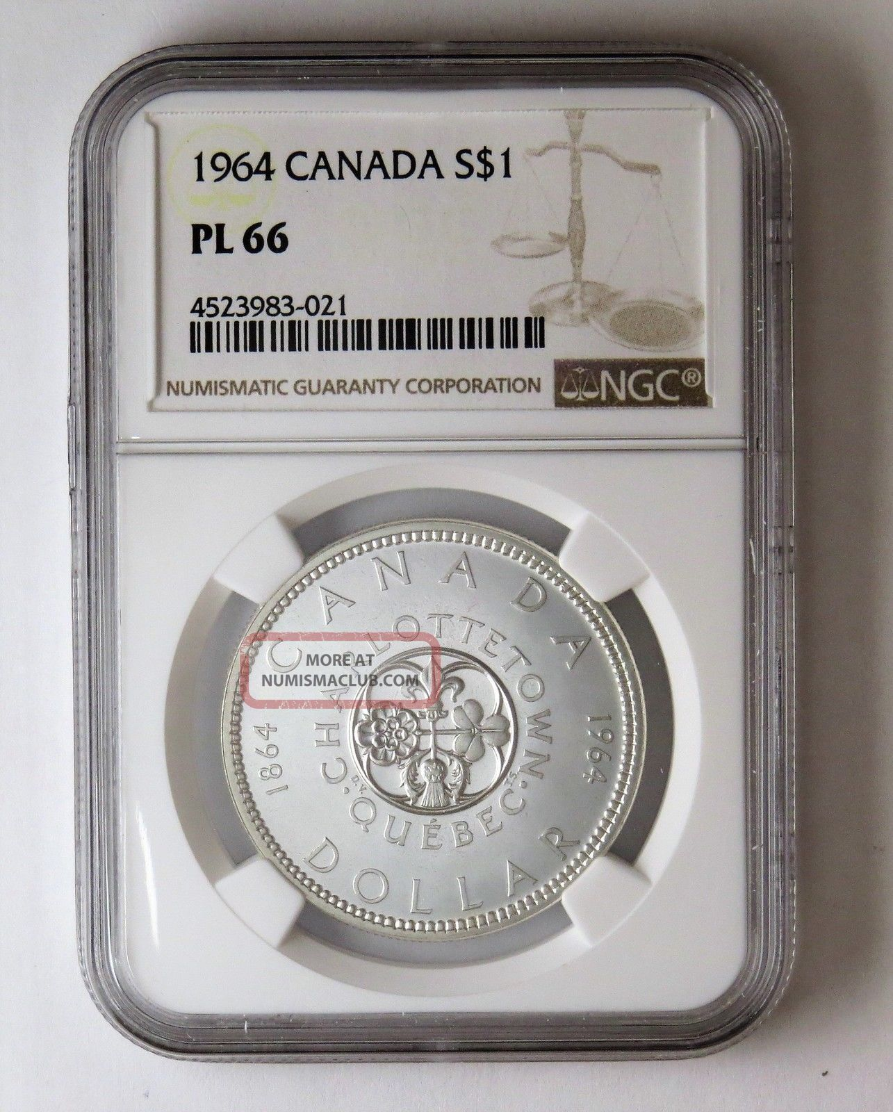 1964 S$1 Canada Silver Dollar Ngc Pl 66 Coins: Canada photo