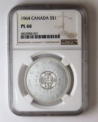 1964 S$1 Canada Silver Dollar Ngc Pl 66 photo