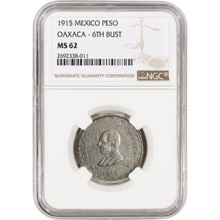 1915 Mexico Oaxaca Silver Peso - 6th Bust - Ngc Ms62 photo