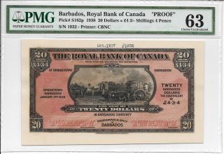 Barbados,  Royal Bank Of Canada - $20 = 4 Pounds 3 Shillings 4 Pence.  Pmg 63 & 62 photo