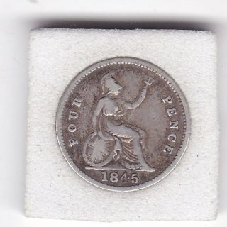 1845 Queen Victoria Four Pence (groat) Coin (92.  5 Silver) photo