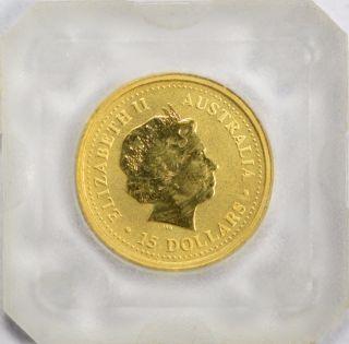 1999 $15 Australia Kangaroo Nugget 1/10 Oz.  9999 Fine Gold photo