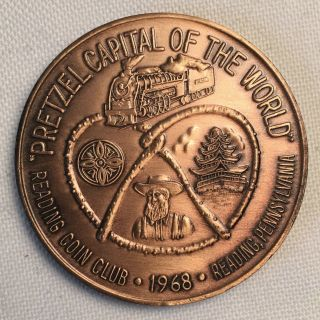 1968 Penn - Ohio Coin Club Token - Reading Pa Pretzel Capital Ch53 photo