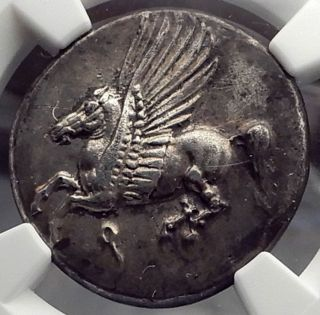 Corinth 345bc Pegasus Athena Ancient Silver Greek Stater Coin Ngc Au I58857 photo