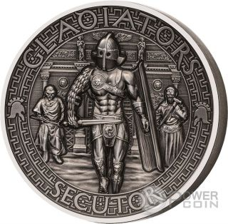 Secutor Gladiators 2 Oz Silver Coin 5$ Solomon Islands 2017 photo