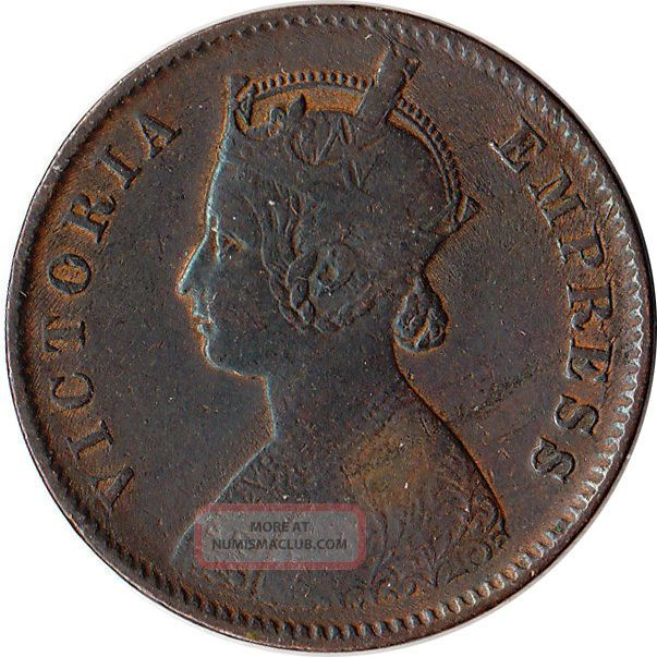 1883 British India 1/4 Anna Coin Victoria Km 486 British photo