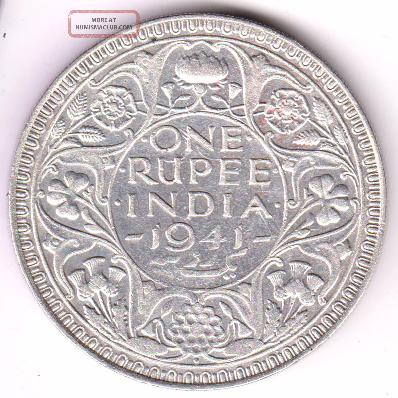 British India 1941 King George 6 Bombay One Rupee Rare Silver Coin 15 British photo