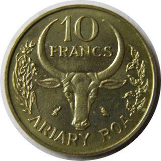 Elf Malagasy Republic Madagascar 10 Francs 1970 Ox Fao photo