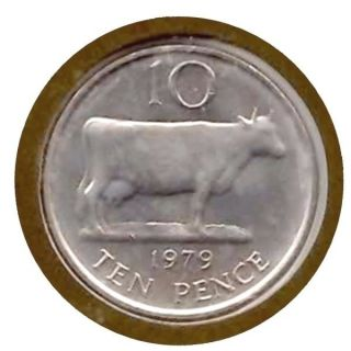 Elf Guernsey 10 Pence 1979 Cow photo