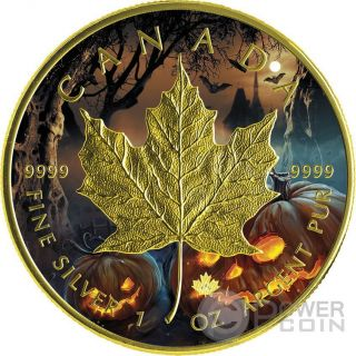 Halloween Maple Leaf 1 Oz Silver Coin 5$ Canada 2016 photo