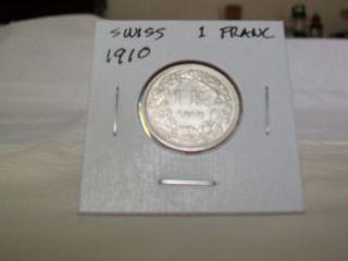 1910 B Swiss Silver 1 Franc Coin,  83.  5 Silver photo