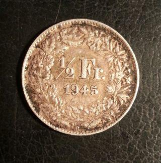 1945 Switzerland.  Silver Swiss Half 1/2 Franc.  Dark Toned Medium photo