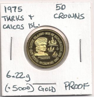 1975 Turks And Caicos Islands 50 Crowns Gold Proof photo