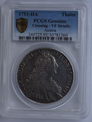 Austria Thaler 1751,  Franz I Crowned Imperial Double Eagle,  Pcgs Graded photo
