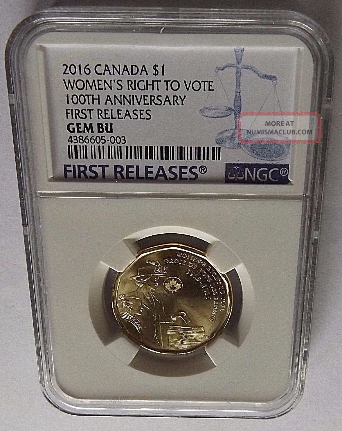 2016 Canada Ngc First Releases Gem Bu Women ' S Right To Vote Loon Dollar $1 Coins: Canada photo