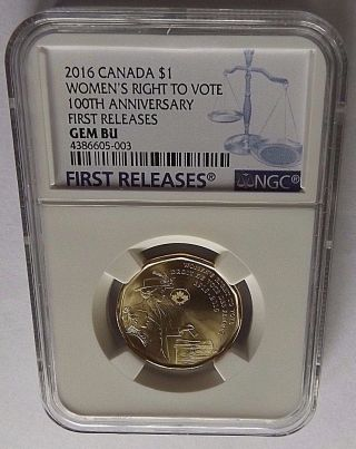 2016 Canada Ngc First Releases Gem Bu Women ' S Right To Vote Loon Dollar $1 photo