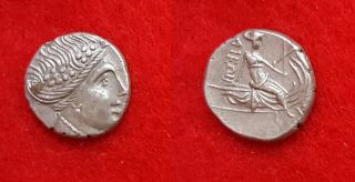 H87: Ancient Greek Silver Coin : Histiaia In Euboia - Tetrobol 300 - 200 B.  C photo