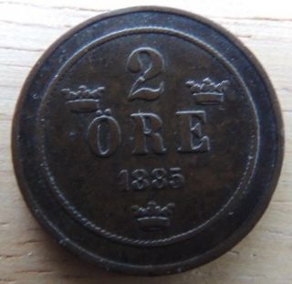 Sweden 1885 2 Ore Very Fine Km - 746 Great Coin photo