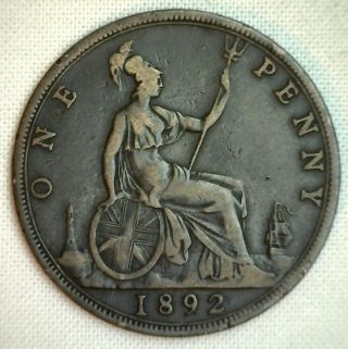 1892 Great Britain Penny Km 755 Bronze Uk English Coin Yg P photo