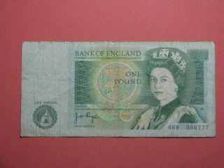 Bank Of England Uk One Pound Note 66w 366777 Nd (1978 - 1984) Elizabeth Ii Newton photo