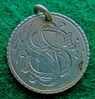 1875 Japanese 10 - Sen Silver Coin,  Love Token,  Engraved