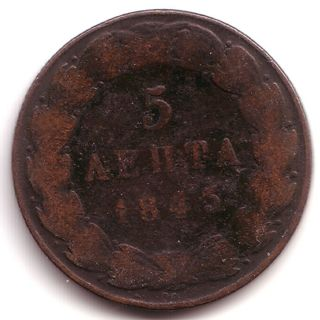 Greece : Copper 5 Lepta.  1845.  Grade G photo