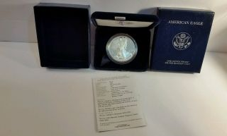 Us 2004 West Point Silver American Eagle Proof Dollar Coin $1 Box & photo