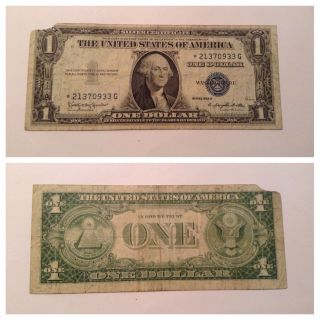 Vintage Star 1935 - H $1 Silver Certificate One Dollar Note Washington Blue Seal photo