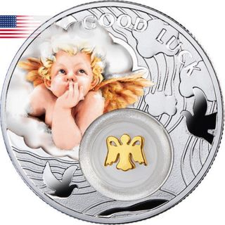 Niue 2014 1$ Angel Symbols Of Luck 1/2 Oz Proof Silver Coin photo