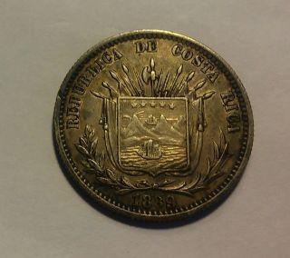 Rare 1889 Costa Rica.  25 Centavos.  Scarce Silver Coin ( (256)) photo
